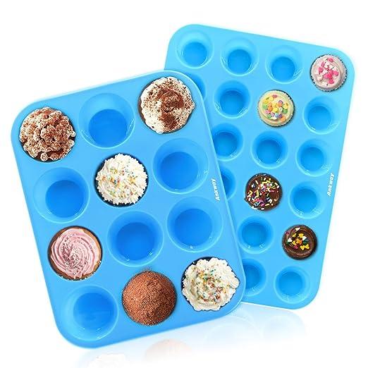 Ankway Molde de Muffin Silicona juego de 2, 12/24 tazas Molde de Silicona para Magdalenas Repostería Galletas-Reutilizable, Antiadherente, Resistente ...