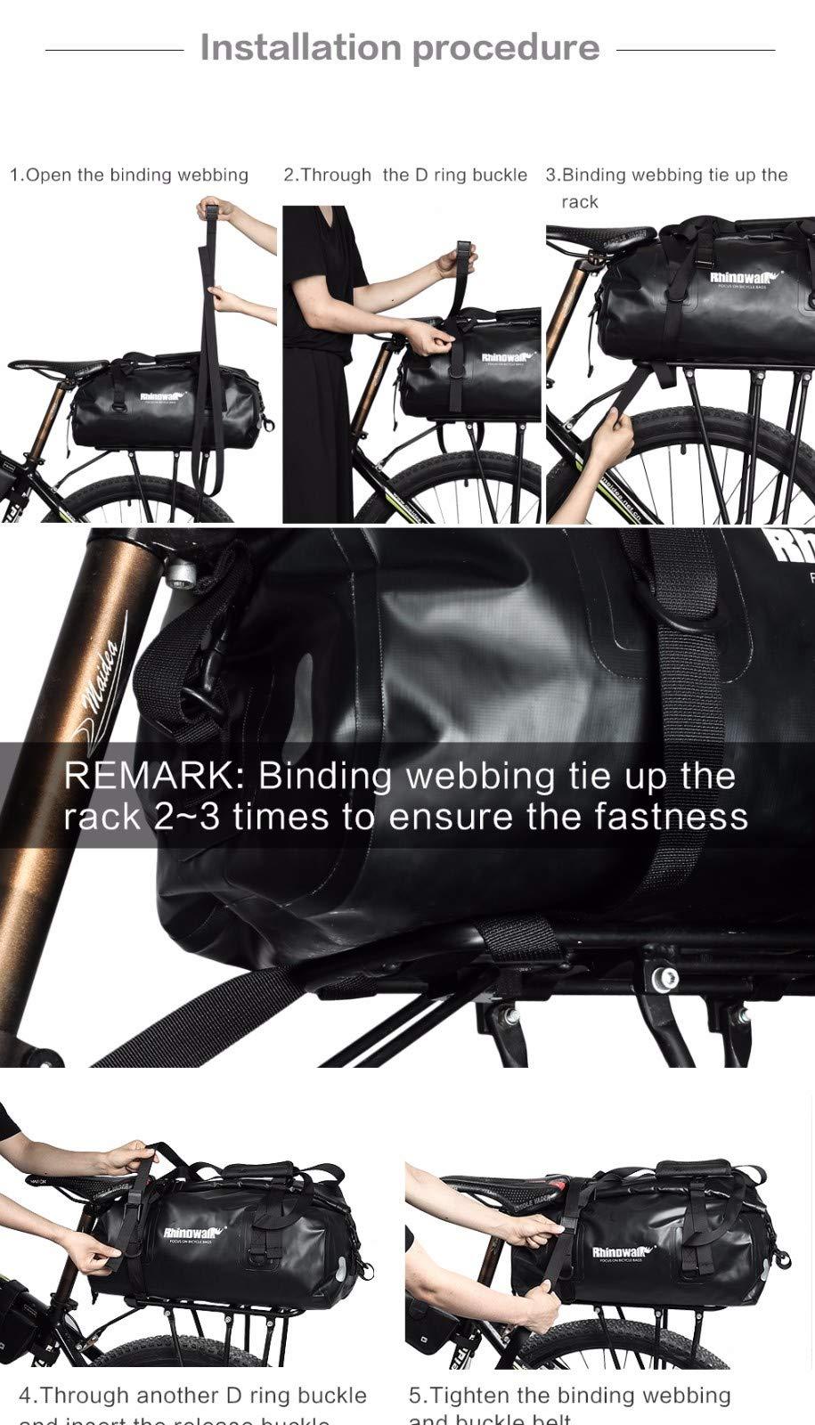 Rhinowalk Bike Bag Waterproof Bike Pannier Biycle Cargo Rack 25L Postman Saddle Bag Shoulder Bag Laptop Pannier Rack Bicycle Bag Professional Cycling Accessories (Two in one)
