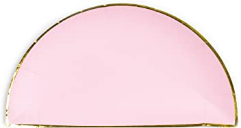 Sugar & Cloth 8.5 Inch Semi Circle Paper Plate, Pink with Gold Edge, 16 Count