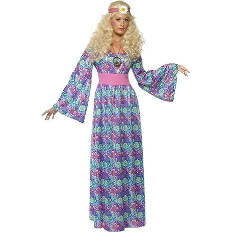 NET TOYS Costume carnevale anni 70 a tema figli dei fiori donna hippy taglia f2e663a6aa8