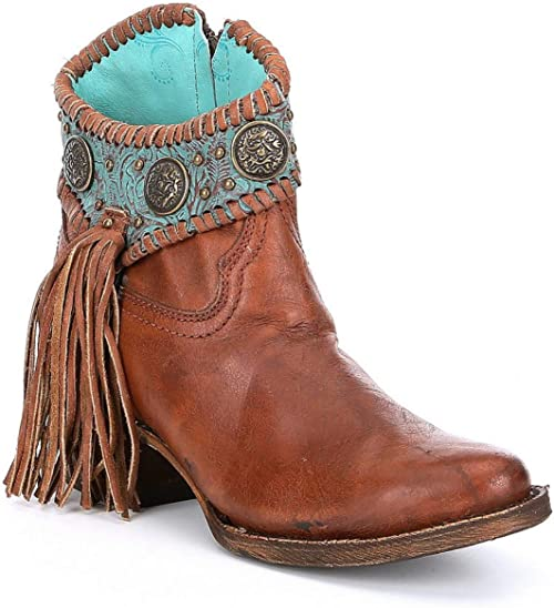 Corral Women/'s Turquoise Concho Ankle Boots A3196