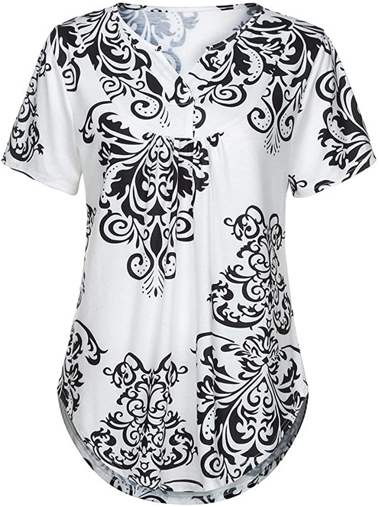 【MOHOLL】 Womens Paisley Printed Long Sleeve Henley V Neck Pleated Casual Flare Tunic Blouse Shirt