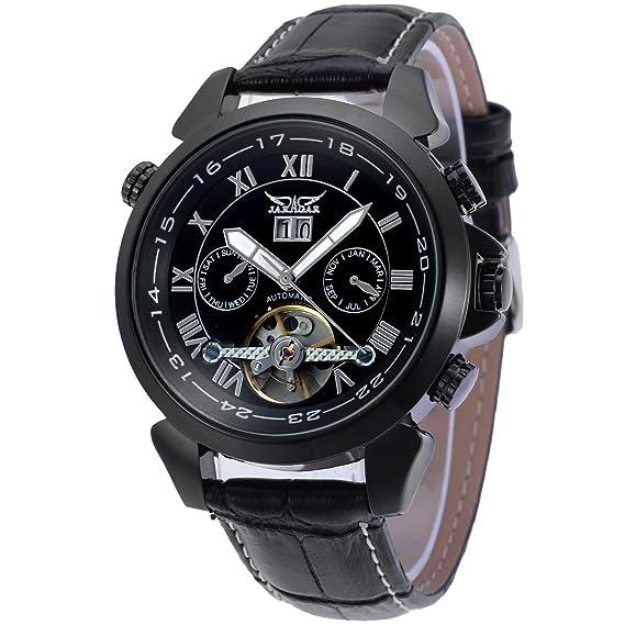 forsining automático para hombre Classic de calendario tourbillon banda reloj de muñeca jag057 m3b2: Amazon.es: Relojes