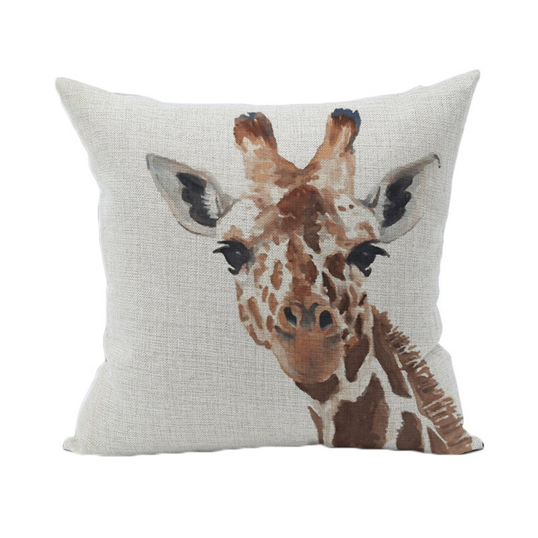 Souarts Giraffe Pattern Chair Back Cushion Linen Throw Square Pillowcase Decorative Pillowcase For Home Living Room 45*45cm Hellocrafts