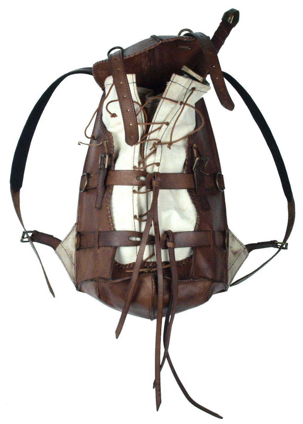Mittelalterlicher Rucksack Adventurer aus stabilem Leder LARP Back Bag Schwarz oder Braun
