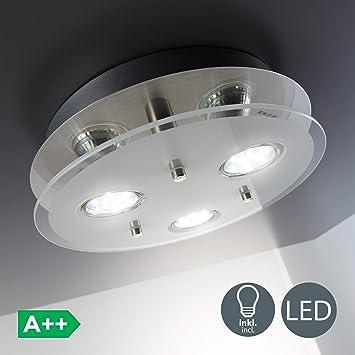 Lámpara de techo con 3 focos GU10 I 3 x 3W bombillas I luz blanco cálido 3000K I Plafón moderno para salón