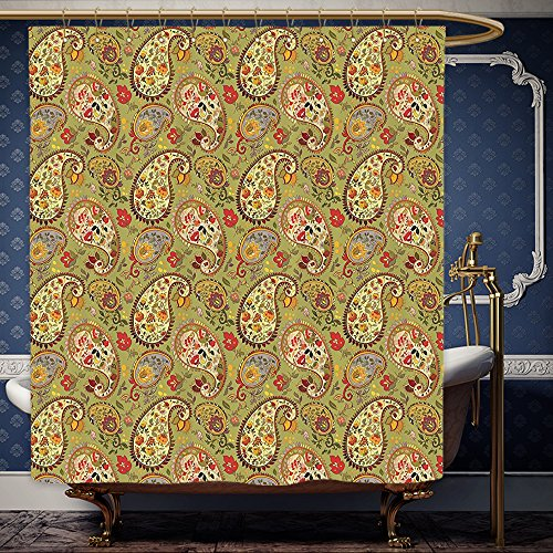 Paprika Paisley (Wanranhome Custom-made shower curtain Paisley Decor Eastern and Persian Oriental Style Tulip Floral Textile Pattern Green Red Cream and Paprika For Bathroom Decoration 72 x 72 inches)