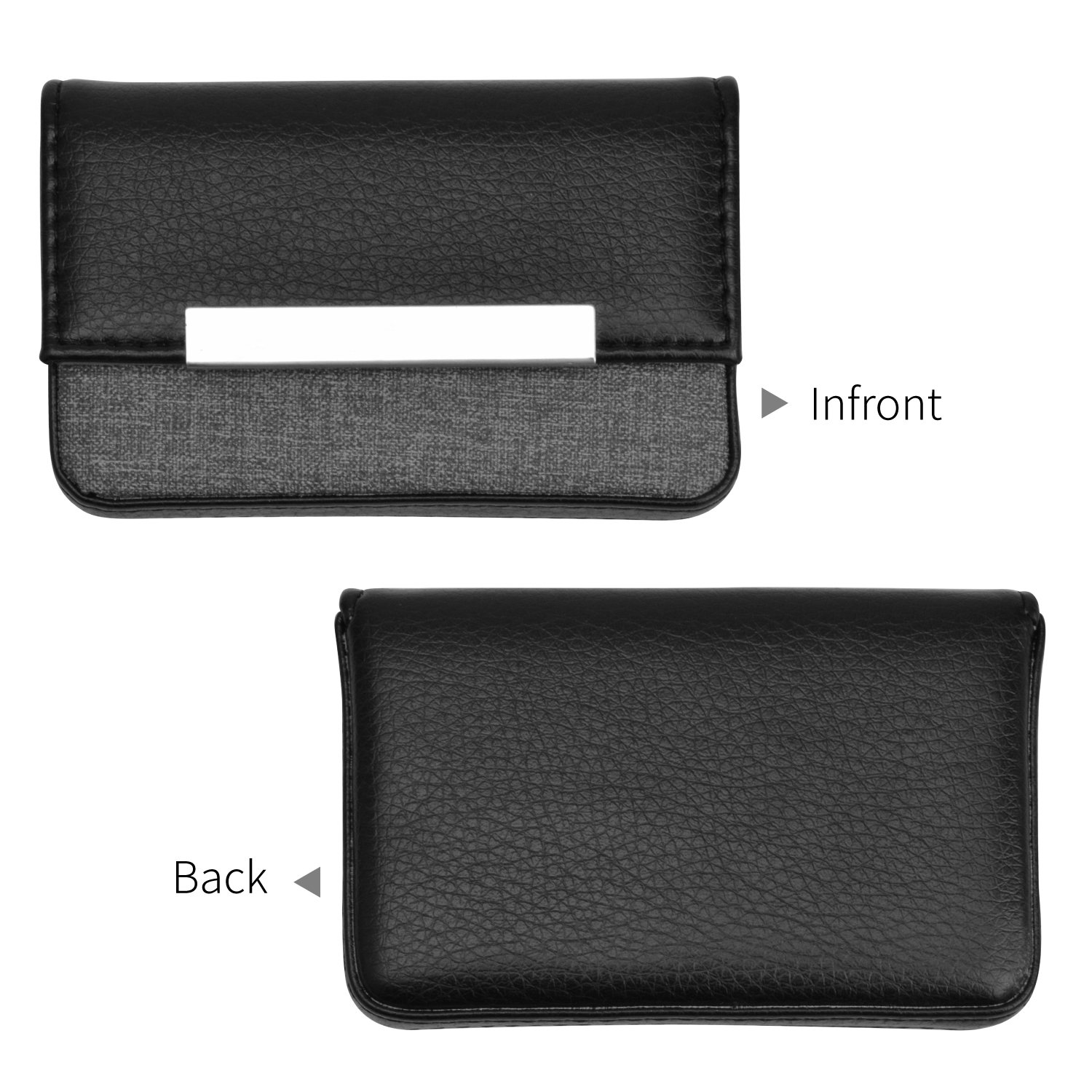 255c40885236 MaxGear Business Card Holder Professional Business Card Case Luxury PU  Leather and Stainless Steel Card Holder for Men and Women with Magnetic Shut  ...