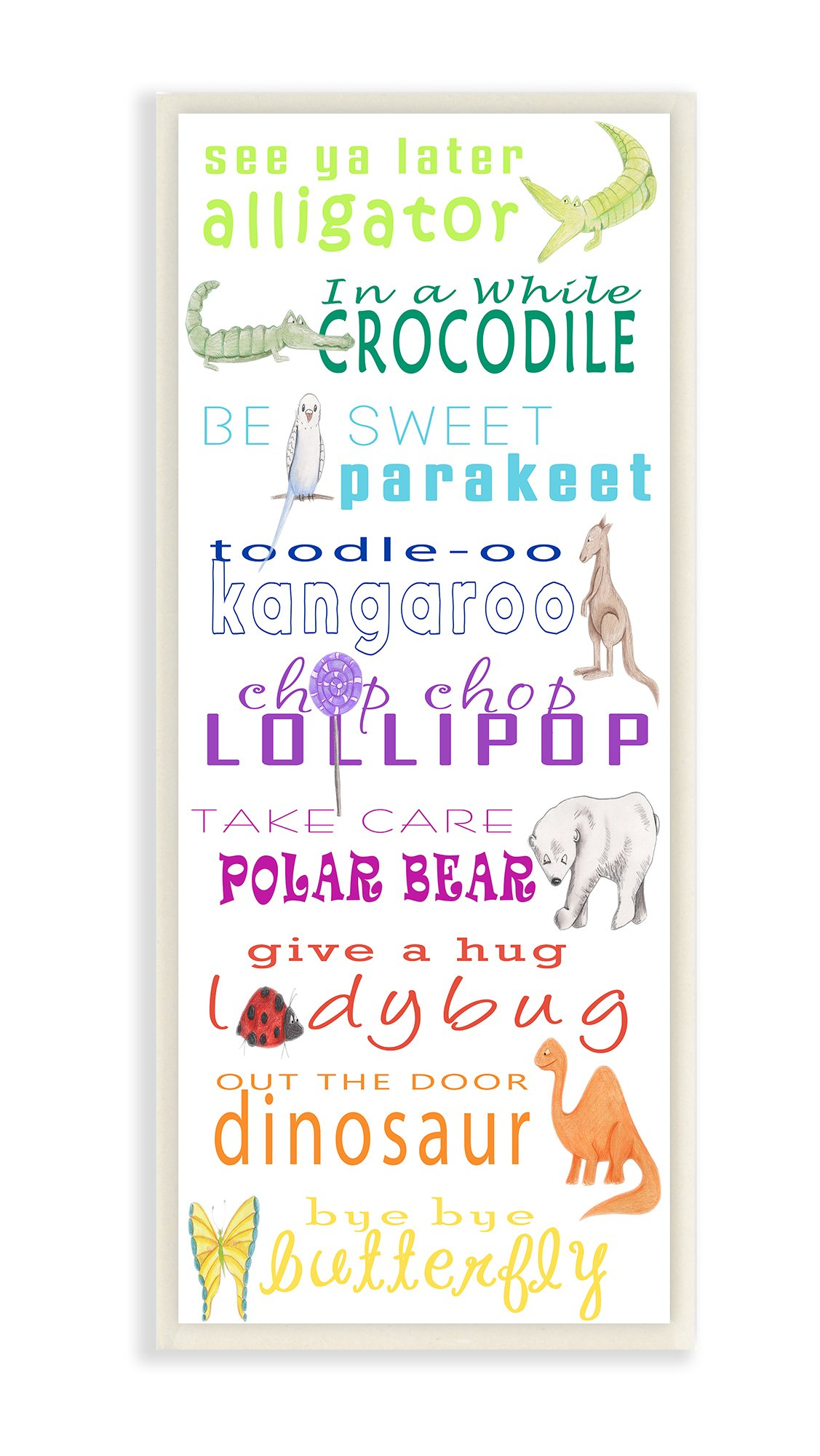 The Kids Room By Stupell See You Later Alligator Animal Goodbyes Wall Plaque Art, 7 x 0.5 x 17, Proudly Made in USA by The Stupell Home Décor Collection
