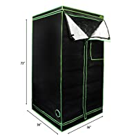 MILLIARD Horticulture D-Door 36`` x 36`` x 73`` Grow Tent