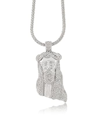 Iced out silver jesus piece pendant w 30 36 franco chain 30 iced out silver jesus piece pendant w 30quot 36quot aloadofball Image collections