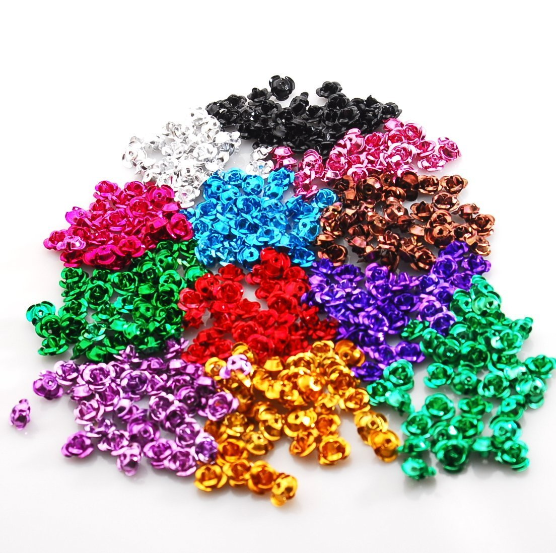 Resin / Nail / Beading Parts Material - 6 mm Aluminium Rose 12 Farbes (360 Pieces)