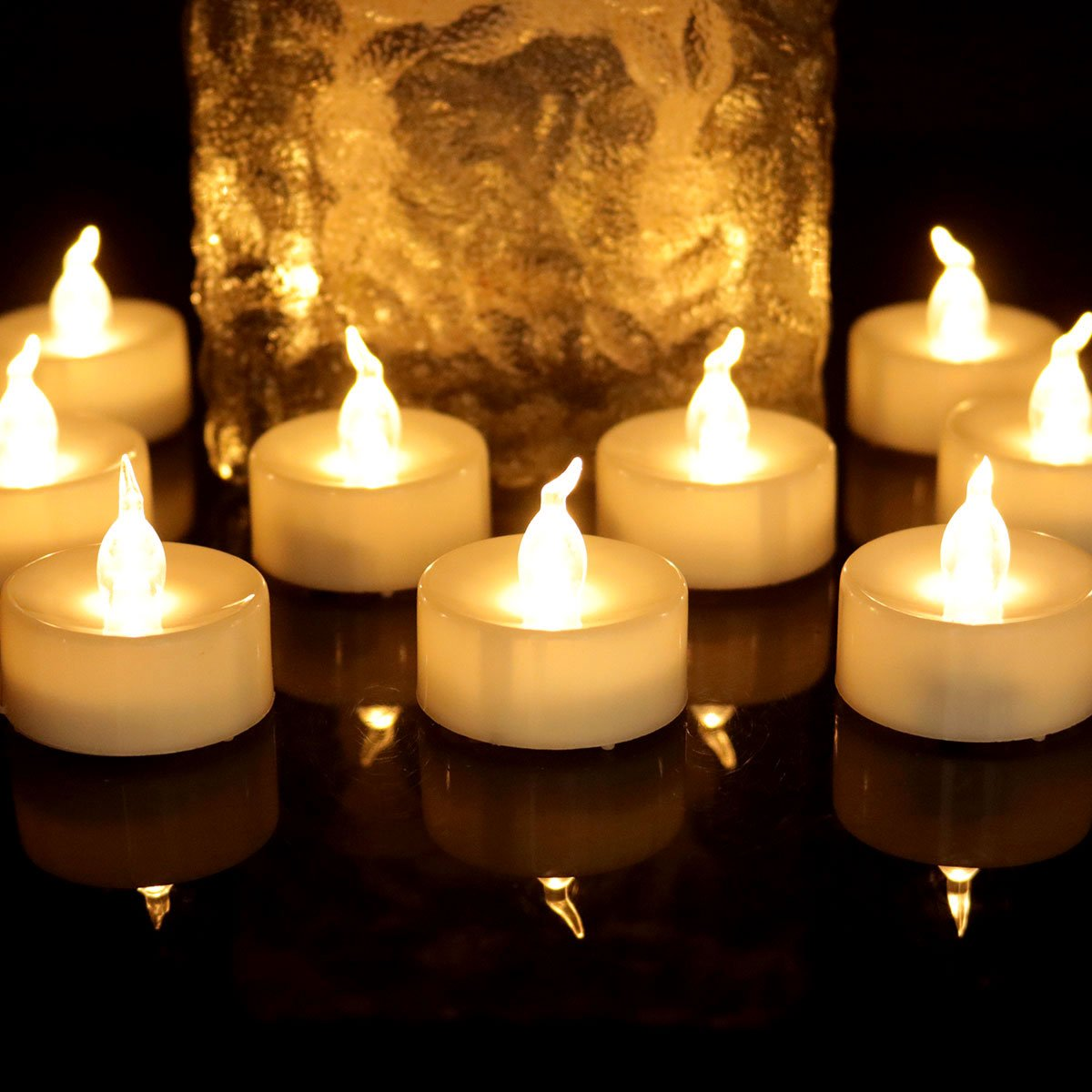 200 Hours Long Lasting Led Votive Candle Warm White Flickering Flameless Realistic Artificial Small Mini Battery Operated Tealight Candle for Christmas Thanks Giving Day Night Party, 24PCS, 1012F