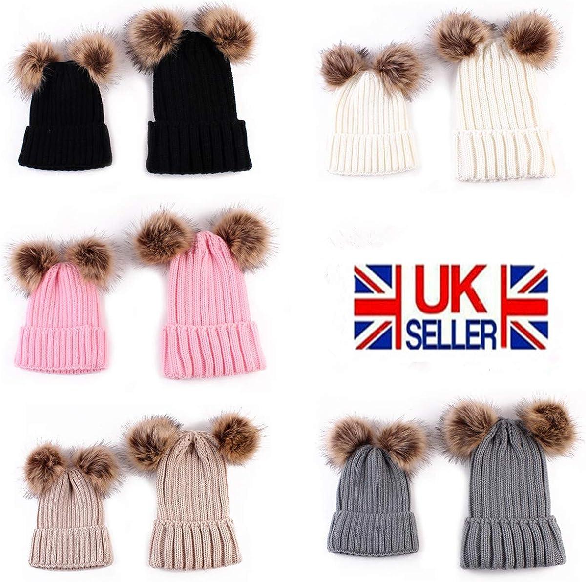 Mother /& Baby Winter Warm Knit Pom Pom Hat Family Matching Beanie Ski Cap Tabpole 2PCS Parent-Child Hat