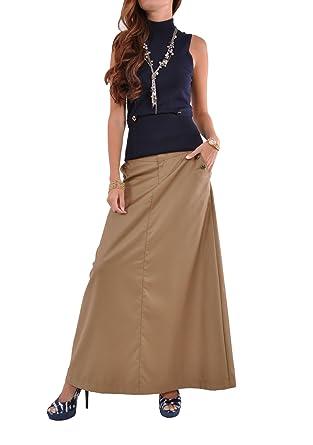 Style J Just Chic Khaki Long Skirt at Amazon Women's Clothing store: