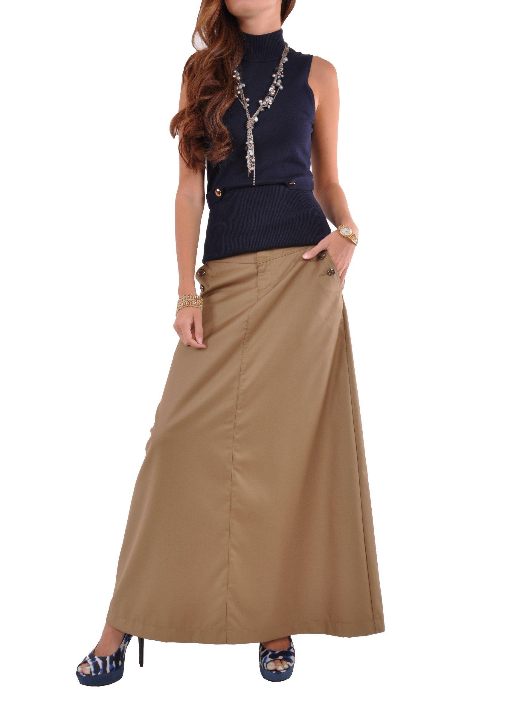 Style J Just Chic Khaki Long Skirt-Beige-34(14)