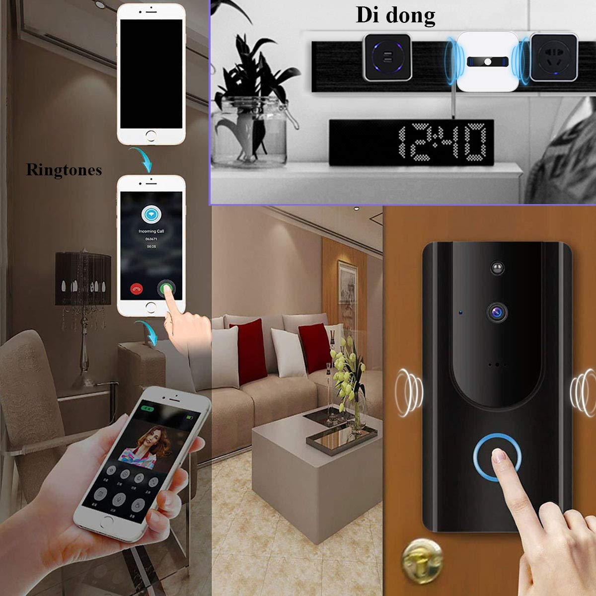 Video Doorbell,Visual Doorbell Camera 720P HD Wifi Security Camera with 16G TF Card, Chime and Battery,Real-Time Two-Way Talk, Night Vision,PIR Motion Detection,App Compatible for iPhone and Android by LeVcoecam (Image #2)