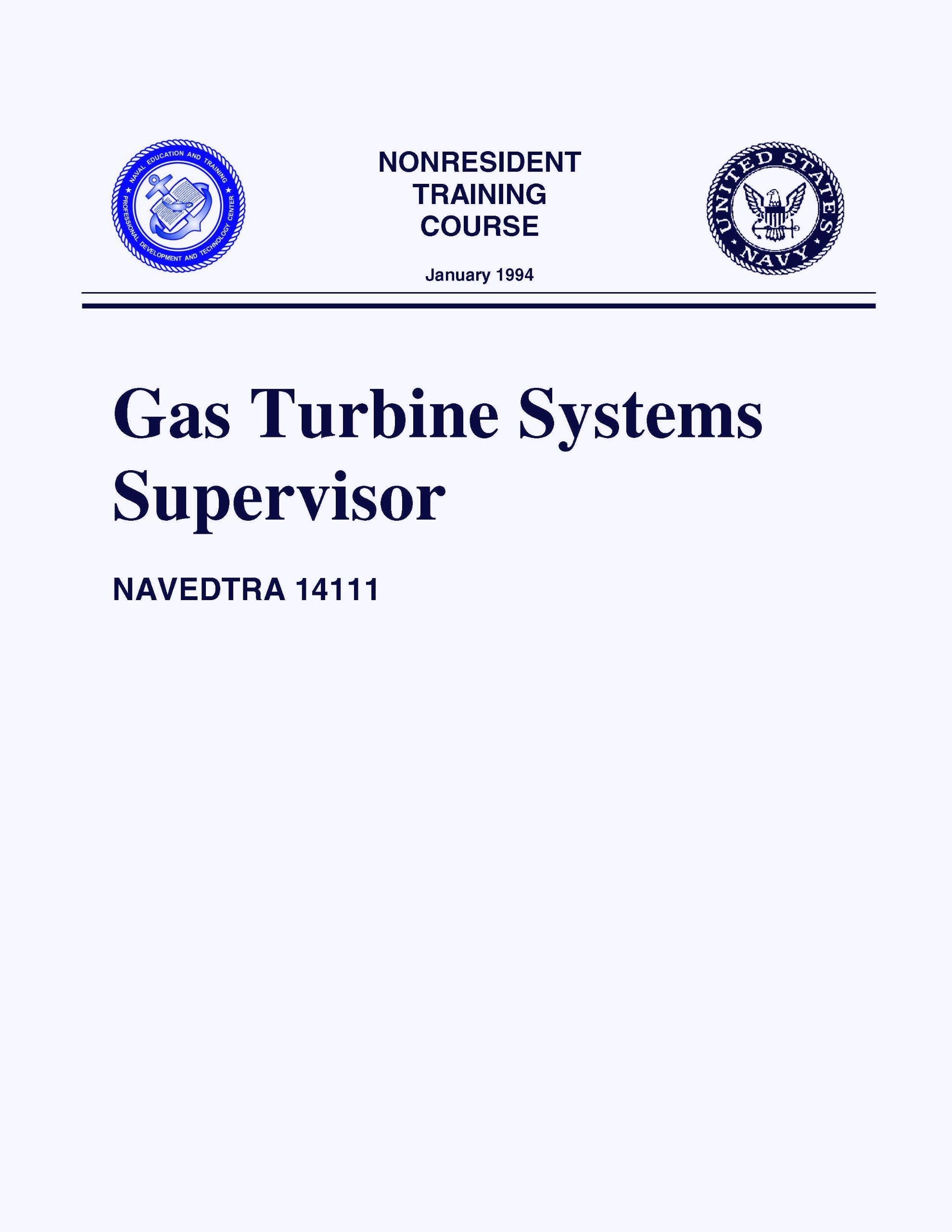 NAVEDTRA Gas Turbine Systems Supervisor NONRESIDENT