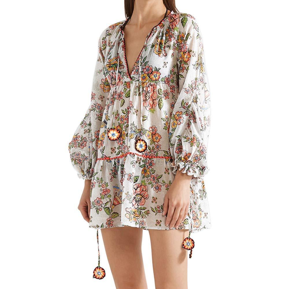Libermall Women's Dresses Vintage Boho Print Long Sleeve Beach Sundress Evening Party Short Mini Dress