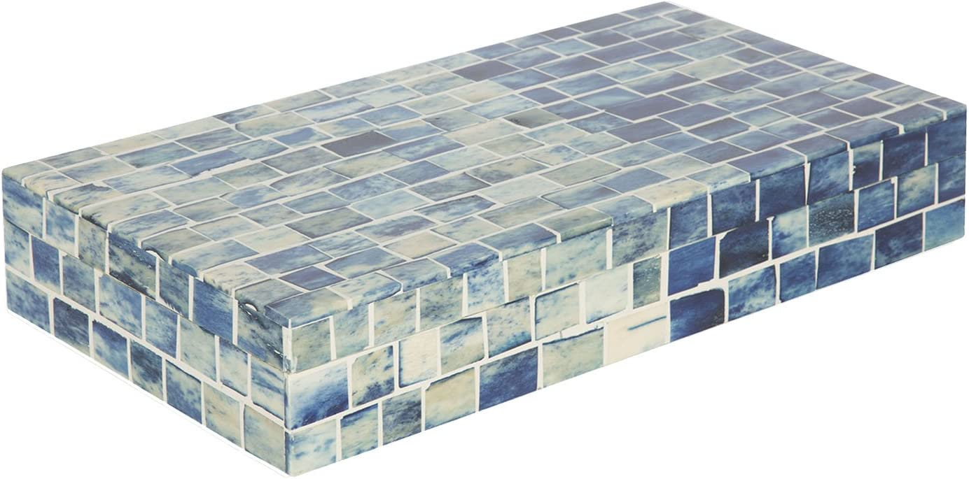 Indigo Mosaic Keepsake Decorative Jewelry Storage Organizer Box Handmade 12x6x2 inch – Christmas Gifts