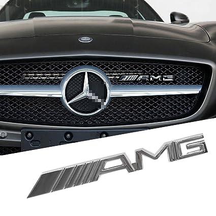 Schwarz//Chrom Emblem f/ür K/ühlergrill f/ür AMG
