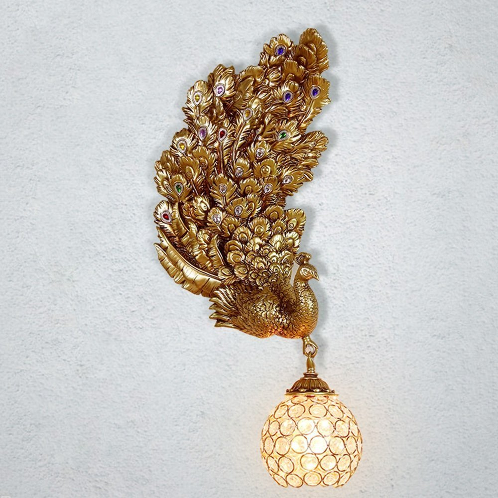 HOMEE Wall lamp- french style rural peacock resin lamp body crystal shade high transmittance wall lamp clothing store wall lights --wall lighting decorations,5 by HOMEE
