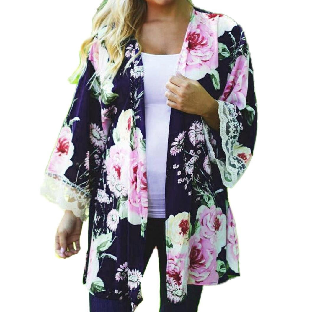Women Floral Open Cape Casual Coat Loose Blouse kimono Cardigan (S, Blue)