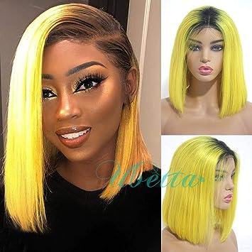 Ombre Bob Wigs Yellow Lace Front Brazilian