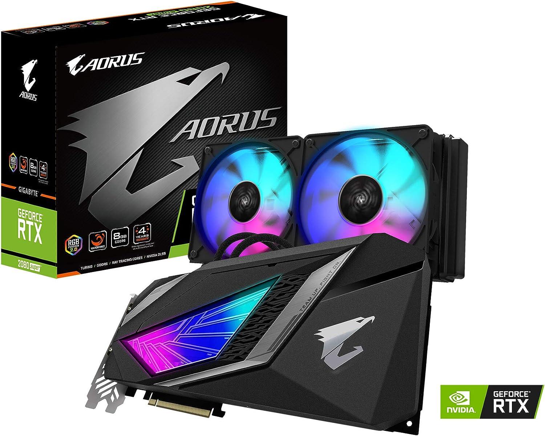 Gigabyte AORUS GeForce RTX 2080 Super WATERFORCE 8G Graphics Card, 240mm AIO with RGB Fans, 8GB 256-Bit GDDR6, Gv-N208SAORUS W-8GC Video Card