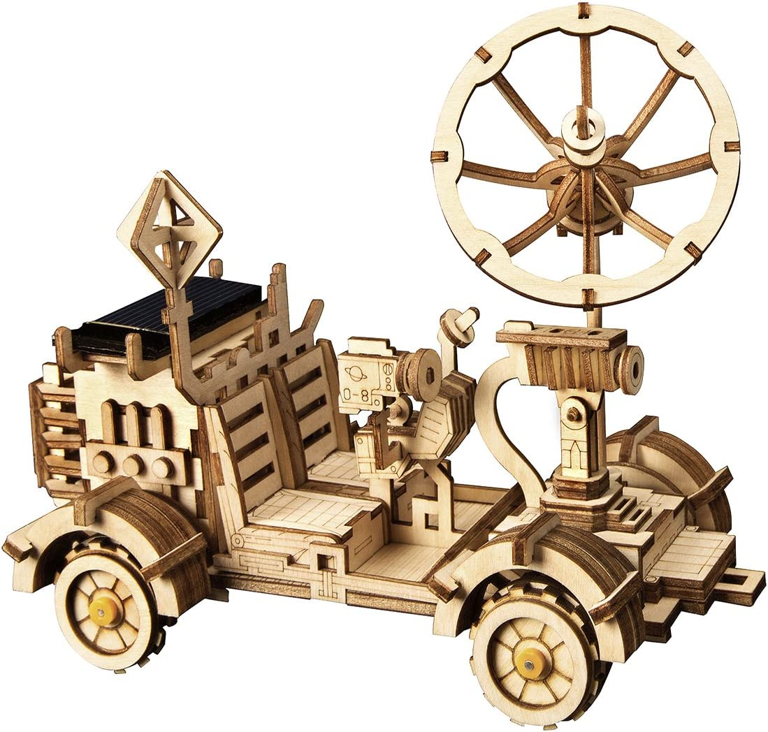 ROKR Assemble Solar Energy Powered Cars-Moveable 3D Wooden Puzzle Toys-Funny Teaching Educational-Home Deco-Model Building Sets-Best Christmas,Birthday Gift