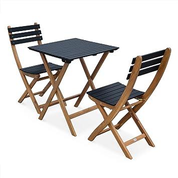 Table de Jardin bistrot en Bois 60x60cm - Barcelona Bois/Noir ...