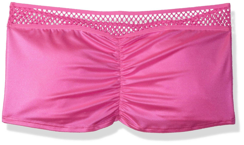 BODYZONE Women's Honeycomb Scrunch Back Skirt, Neon Pink, One Size