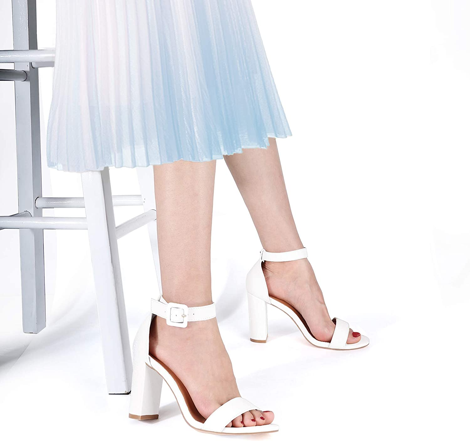 SHOWHOW Women/'s Ankle Strap Chunky High Heel Sandals Block Open Toe Wedding Party Dress Shoes