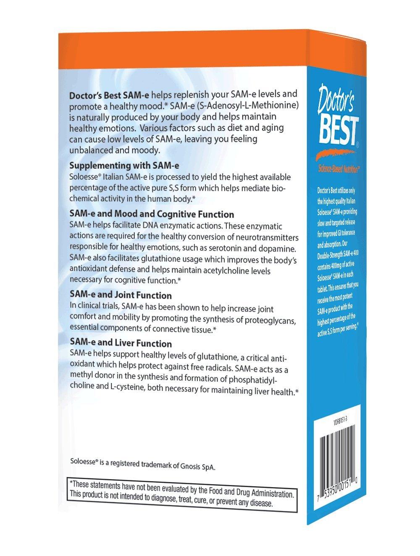 Doctors Best, SAM-e 400, Doble Fuerza, x30tabs: Amazon.es: Salud y cuidado personal
