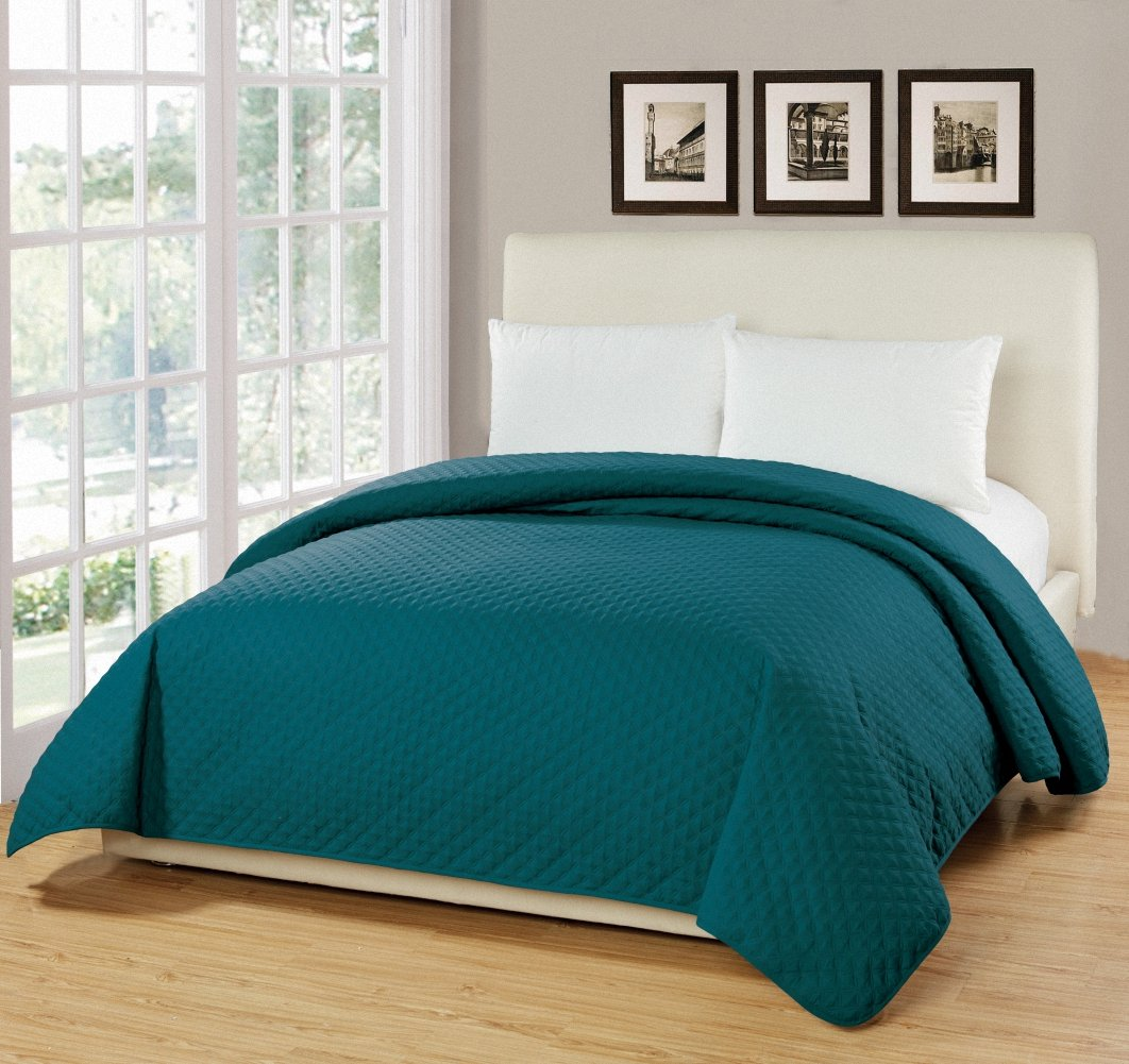 Bourina Reversible Bed Quilt Bedspread and Coverlet 90'' x 90'' Microfiber Thin Comforter-Full/Queen, Turquoise