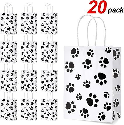 Amazon.com: 20 bolsas de regalo con diseño de huellas de ...