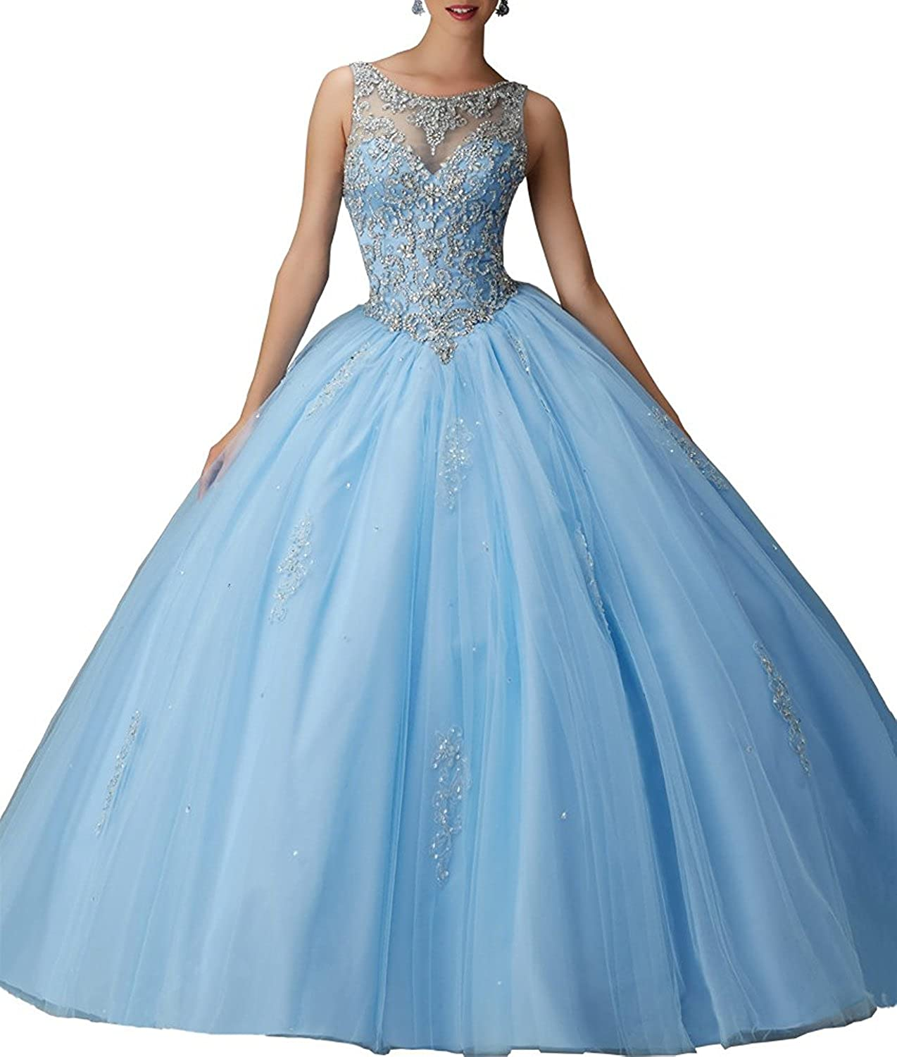 bluee XSWPL Girls Sweet 16 Birthday Party Dress Ball Gown Beads Prom Quinceanera Dresses