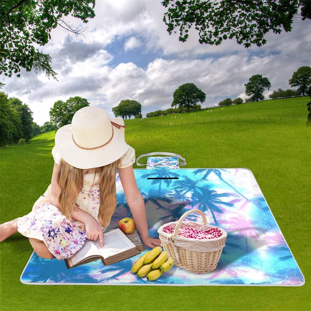 XINGAKA Coperta da Picnic Tappetino Campeggio,Fiori delle mattonelle del Modello Floreale dell'acquerello di Paisley,Giardino Spiaggia Impermeabile Anti Sabbia 20