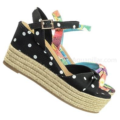 f0a48a9cf3d94 Amazon.com | Espadrille Wedge Sandal -Women Multi Print & Polka Dot Braided  Jute Wrap | Platforms & Wedges