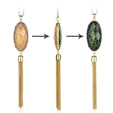 HUIMEI Long Tassel Sparkling Reversible Pendant Necklace