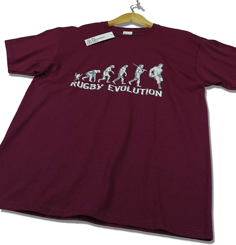 My Generation Gifts Rugby Evolution Rugby Divertido del Regalo de cumplea/ños//Presente para Hombre de la Camiseta