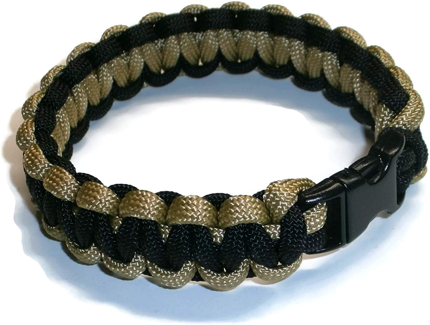 """Paracord Bracelet 550 Black Tactical 3//8/"""" Buckle Gold Hand Made"""