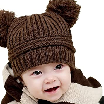 34a9f253745 Image Unavailable. Image not available for. Color  Tonsee Cute Baby Kids Girl  Boy Dual Balls Warm Winter Knitted Cap Hat Beanie ...