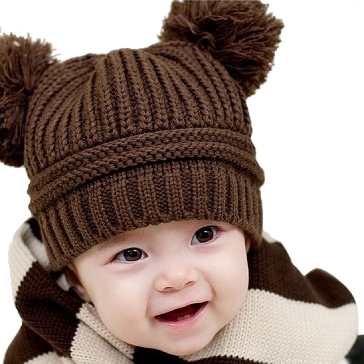4851301f542 Amazon.com  Tonsee Cute Baby Kids Girl Boy Dual Balls Warm Winter Knitted Cap  Hat Beanie (Coffee)  Baby