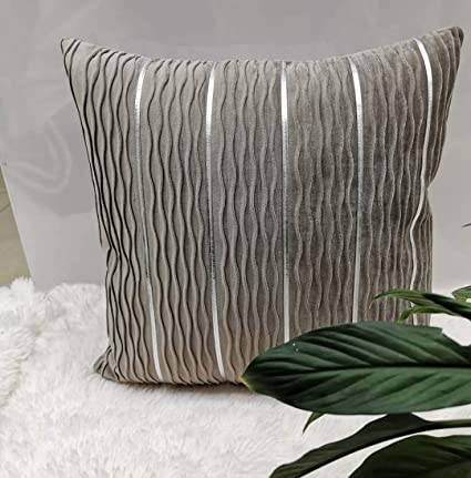 Flobbs Pillow Case Velvet Soft Throw Cushion Covers With Hidden Zipper For Couch 45x45 Cm 2 Packs Light Grey Amazon Co Uk Kitchen Home