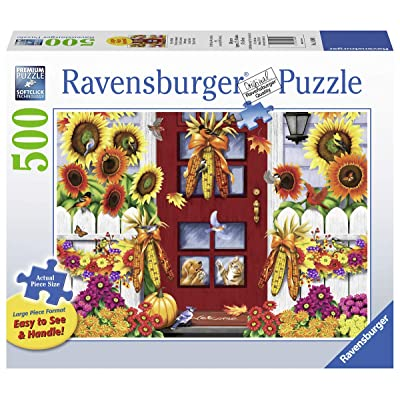 "Ravensburger Autumn Birds 14968 500 Piece Large Pieces Jigsaw Puzzle for Adults, Every Piece is Unique, Softclick Technology Means Pieces Fit Together Perfectly, 27"" x 20"", Multi: Toys & Games"