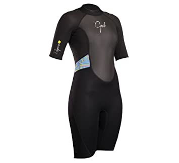 e309d59bc1 Gul Womens Response 3 2MM Back Zip Shorty Wetsuit Wetsuit Black Lines -  Easy Stretch