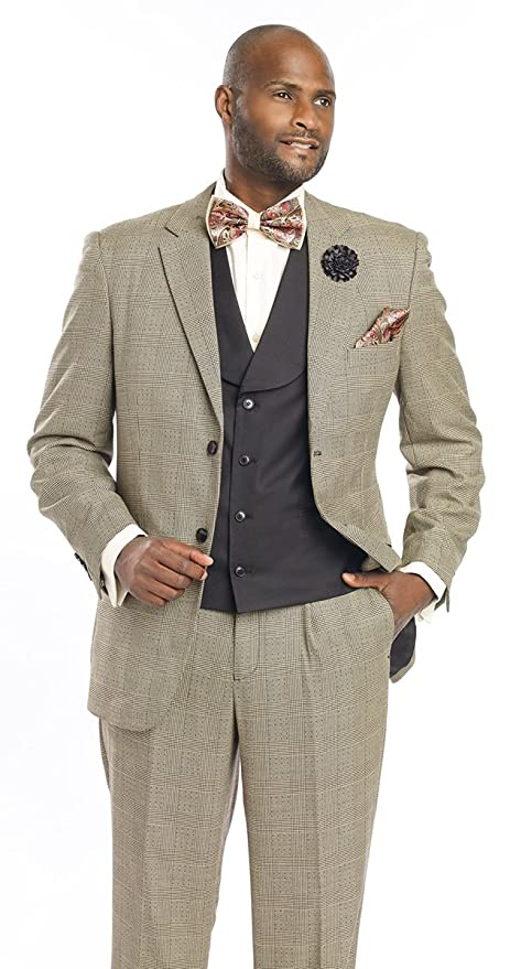 Men's Vintage Style Suits, Classic Suits 1920s Mens Suit Vested Checked Fashion Men Suits M2691 EJ Samuel $129.99 AT vintagedancer.com