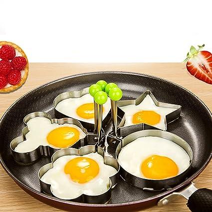 iiniim - Moldes para huevos fritos (5 unidades, acero inoxidable, antiadherentes, para