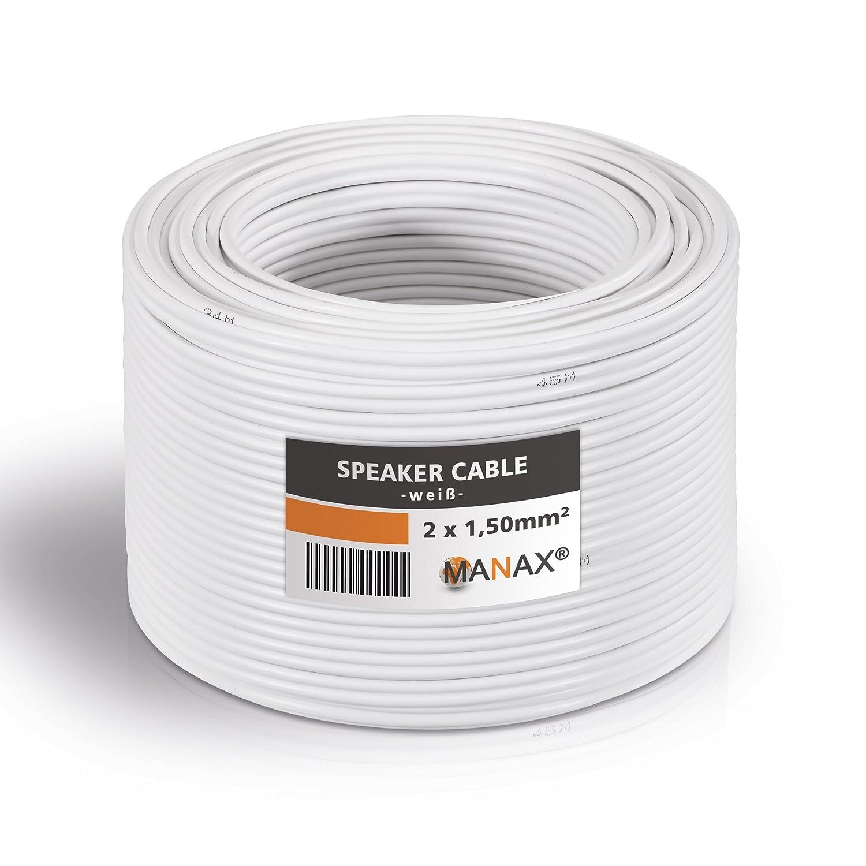 Lautsprecherkabel Boxenkabel 100m 2x1,5 weiß 2 x1,5 TOP Audio Kabel